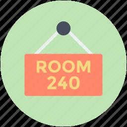 hanging board, hotel room, room no, room signboard, signboard icon