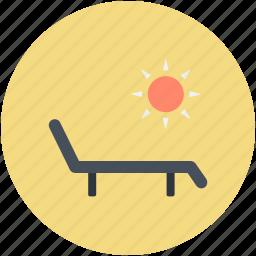 beach, deck chair, sun tanning, sunbathe, tanning icon