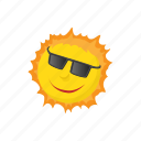 hot, isometric, sign, sun, sunglasses, sunlight, sunshine icon