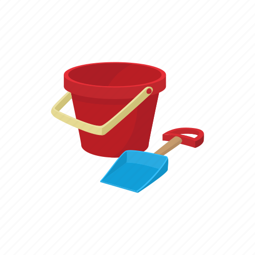 bucket, cartoon, kid, play, sand, shovel, toy icon