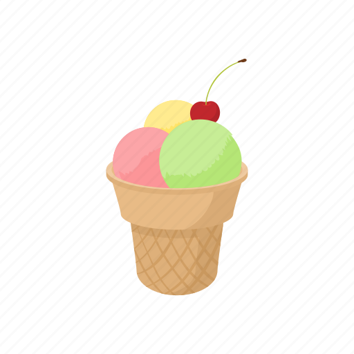 cartoon, cone, cream, dessert, flavor, ice, icecream icon