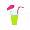 alcohol, cartoon, cocktail, drink, glass, green, juice icon
