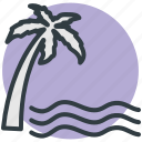 beach, island, palm tree, sea, summer icon