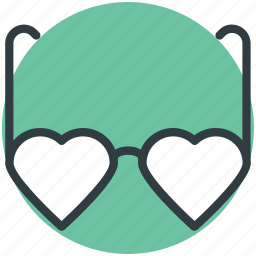 eyeglasses, glare glasses, heart shaped sunglasses, spectacles, sun glasses icon