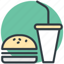 burger, drink, fast food, junk food, takeaway food icon