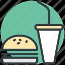 burger, drink, fast food, junk food, takeaway food