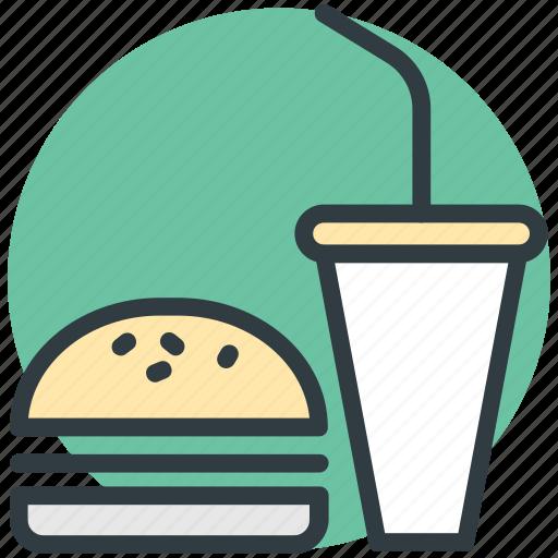 burger, drink, fast food, junk food, takeaway food icon