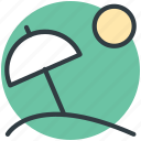 adventure, beach, holiday, parasol, sun icon