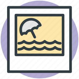 beach umbrella, landscape, nature, ocean, scenery icon
