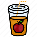 apple, disposable, food, fruit, juice, liquid