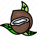 coconut, coconut fruit, coconut slice, food, fruit, half, tropical icon