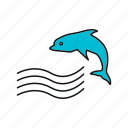 dolphin, summer, waves icon