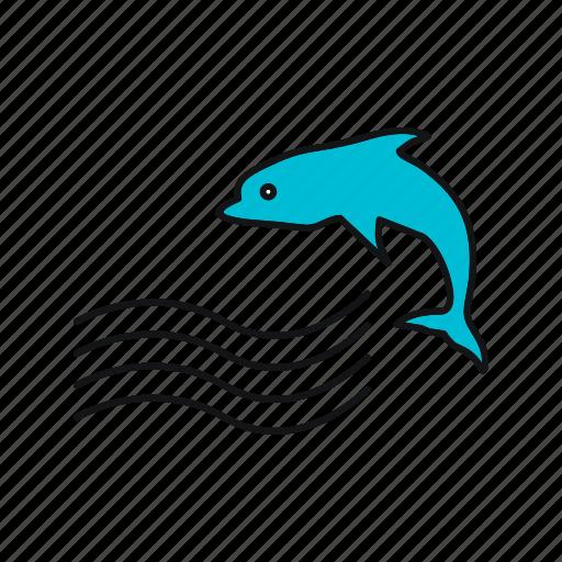dolphin, sea, summer, waves icon