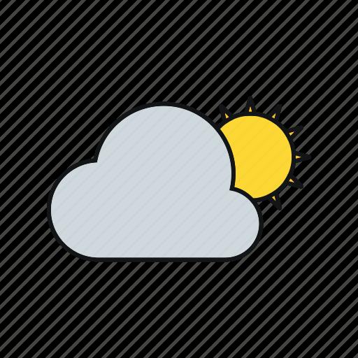cloud, summer, sun, sun and cloud icon
