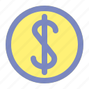 coin, dollar, finance, holiday, sign, summer, vacation icon