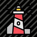 lighthouse, tower, summer, beach, ocean, summertime, sea