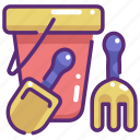 beach, bucket, childhood, sand bucket, shovel, summertime, toy icon