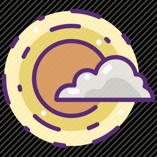 cloud, cloudy, meteorology, sky, sun, sunny, weather icon