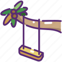 beach, leisure, nature, palm tree, summer, swing icon