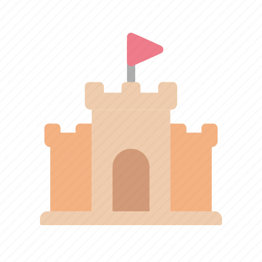 beach, castle, sand, summer icon
