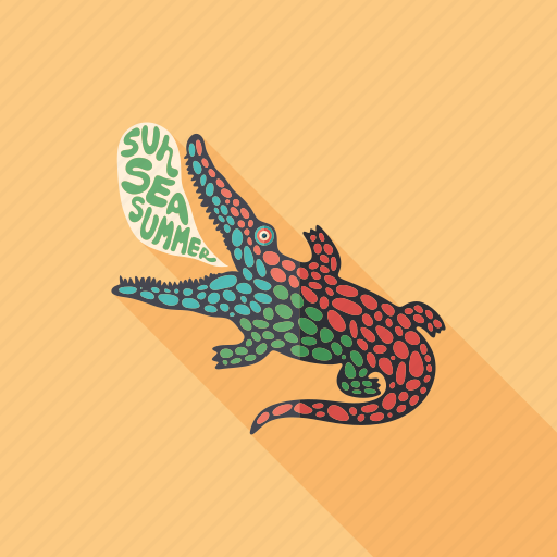 cartoon, character, crocodile, monster, psychedelic, reptile, summer icon