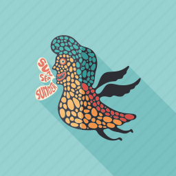 bird, cartoon, character, clown, monster, psychedelic, summer icon