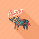 animal, cartoon, character, dog, monster, psychedelic, summer icon