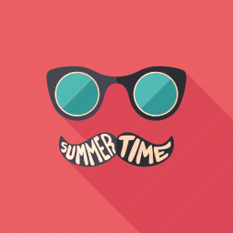 cartoon, character, glasses, hipster, mustache, summer, sunglasses icon