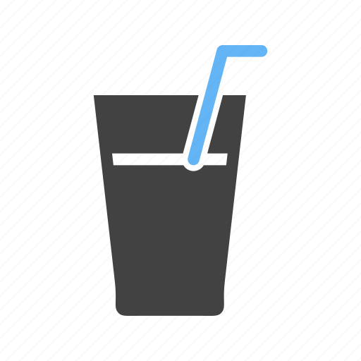 cold drink, drink, glass, liquid, soft drink, straw, water icon