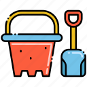 beach, bucket, sand, shovel icon