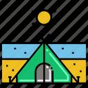 beach, sunny, tent icon