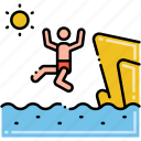 activity, cliff, diving, sunny icon