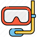 diving, mask, snorkel icon