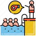 group, lessons, swimming, whistle icon