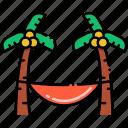coconut, hammock, relax, tree icon