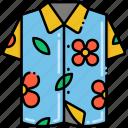 floral, hawaiian, shirt, vacation icon