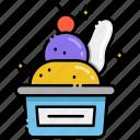 cherry, cream, ice, scoop icon