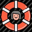 buoy, female, life, lifeguard icon