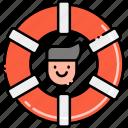 buoy, life, lifeguard, male icon