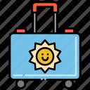 kids, luggage, sun, travel icon