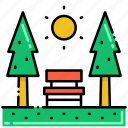 bench, outdoors, sun, tree icon