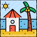 beach, hut, private, tree icon