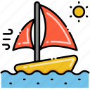 boat, sailing, sun, wind icon