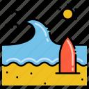 beach, surfing, waves icon