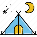 camping, moon, star, tent icon