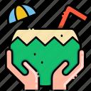 coconut, mini umbrella, vacation icon