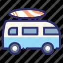 board, car, combi, summer, surfing, van, volkswagen