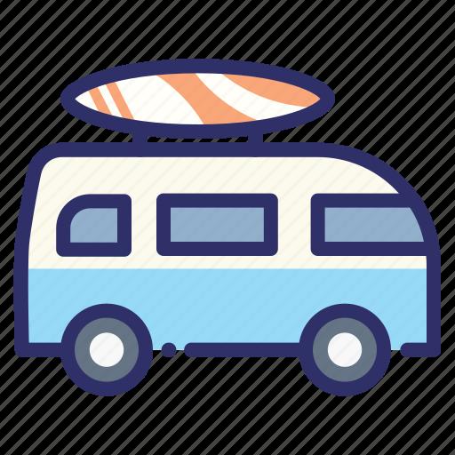 board, car, combi, summer, surfing, van, volkswagen icon