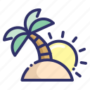 holiday, island, palm, summer, sunrise, tree, tropic