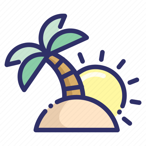holiday, island, palm, summer, sunrise, tree, tropic icon